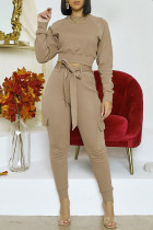 Khaki Fashion Casual Solid With Belt O Neck Long Sleeve Two Pieces