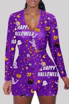 purple Fashion Adult Living Print Split Joint V Neck Skinny Jumpsuits