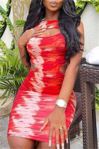Red Sexy Casual Print Hollowed Out O Neck Sleeveless Dress