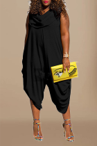 Black Casual Solid Split Joint Harlan Jumpsuits