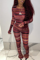 Burgundy Fashion Casual Striped Print Basic O Neck Long Sleeve Two Pieces