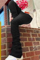Black Fashion Street Solid High Waist Denim Jeans