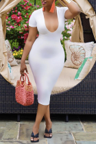 White Sexy Solid Split Joint U Neck Pencil Skirt Dresses
