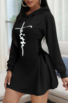 Black Casual Print Split Joint Frenulum Hooded Collar A Line Dresses