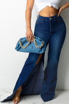 Deep Blue Fashion Street Solid Slit Plus Size Jeans