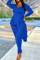 Blue Sexy Solid Flounce V Neck Plus Size Two Pieces