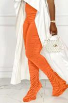 Orange Fashion Casual Solid Fold Regular High Waist Trousers