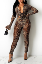 Leopard Print Sexy Animal Print Split Joint Long Sleeve Two Pieces
