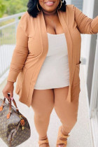 Yellow Casual Solid Split Joint Spaghetti Strap Plus Size Three Pieces