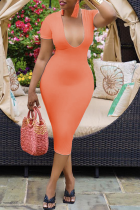 Tangerine Red Sexy Solid Split Joint U Neck Pencil Skirt Dresses