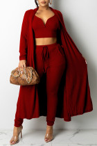 Burgundy Fashion Sexy Solid Split Joint V Neck Long Sleeve Three Pieces