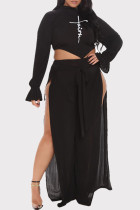 Black Sexy Casual Print Bandage Backless Slit Turtleneck Plus Size Two Pieces
