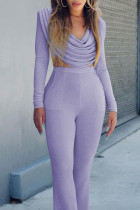 Purple Fashion Sexy Solid Split Joint V Neck Long Sleeve Two Pieces