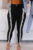 Black Street Solid Tassel Split Joint High Waist Skinny Denim Jeans