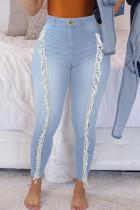 Light Blue Street Solid Tassel Split Joint High Waist Skinny Denim Jeans