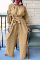 Khaki Fashion Casual Solid Split Joint O Neck Long Sleeve Two Pieces