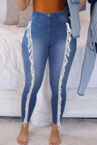 Medium Blue Street Solid Tassel Split Joint High Waist Skinny Denim Jeans