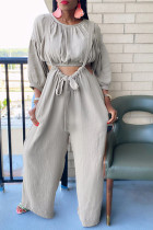 Grey Fashion Casual Solid Split Joint O Neck Long Sleeve Two Pieces
