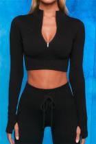 Black Casual Sportswear Solid Long Sleeve TopS