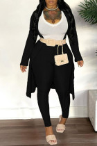 Black Fashion Casual Solid Split Joint V Neck Long Sleeve Three Pieces