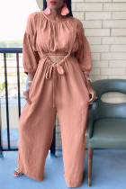 Pink Fashion Casual Solid Split Joint O Neck Long Sleeve Two Pieces