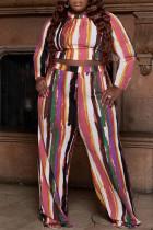 Multi-color Fashion Casual Striped Print Basic O Neck Plus Size Two Pieces