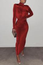 Red Fashion Celebrities Solid Split Joint Half A Turtleneck One Step Skirt Dresses