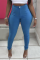 Blue Sexy Solid Split Joint Skinny Mid Waist Pencil Solid Color Bottoms