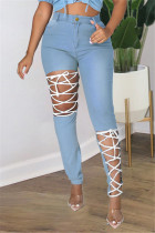 Light Blue Fashion Casual Solid Ripped Bandage Plus Size Jeans