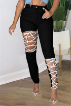 Black Fashion Casual Solid Ripped Bandage Plus Size Jeans