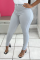 Grey Sexy Solid Split Joint Skinny Mid Waist Pencil Solid Color Bottoms