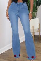 Blue Fashion Street Solid Split Joint High Waist Denim Jeans