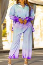 Purple Fashion Casual Print Basic Turndown Collar Plus Size Two Pieces