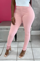 Pink Sexy Solid Split Joint Skinny Mid Waist Pencil Solid Color Bottoms