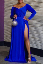 Blue Sexy Solid Split Joint High Opening V Neck Straight Dresses