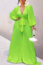 Green Casual Print Polka Dot Bandage Split Joint V Neck Loose Jumpsuits