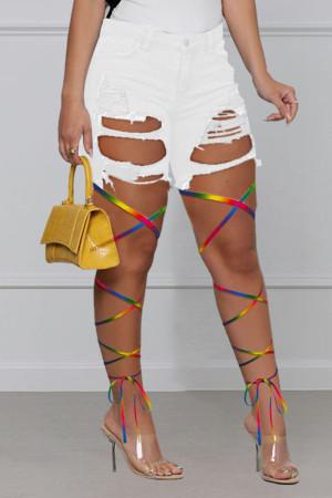White Fashion Street Patchwork Ripped High Waist Denim Jeans