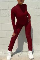 Burgundy Fashion Casual Solid Fold Zipper Collar Regular Jumpsuits
