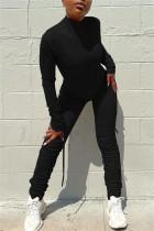 Black Fashion Casual Solid Fold Zipper Collar Regular Jumpsuits