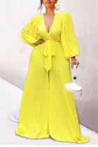 Yellow Casual Print Polka Dot Bandage Split Joint V Neck Loose Jumpsuits