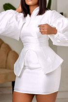 White Fashion Casual Solid Split Joint V Neck Long Sleeve Two Pieces