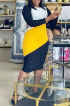 Yellow Casual Color Lump Print Split Joint O Neck One Step Skirt Plus Size Dresses