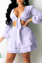 Purple Sexy Solid Bandage Flounce V Neck Long Sleeve Two Pieces