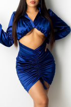 Deep Blue Sexy Solid Split Joint Turndown Collar Long Sleeve Two Pieces