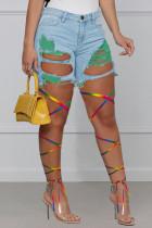Green Fashion Street Patchwork Ripped High Waist Denim Jeans