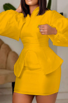Yellow Fashion Casual Solid Split Joint V Neck Long Sleeve Two Pieces