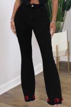Black Fashion Street Solid Split Joint High Waist Denim Jeans