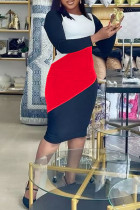 Red Casual Color Lump Print Split Joint O Neck One Step Skirt Plus Size Dresses