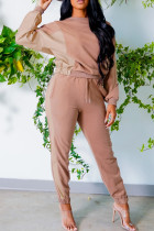 Apricot Fashion Casual Patchwork Basic O Neck Long Sleeve Two Pieces