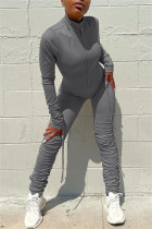 Grey Fashion Casual Solid Fold Zipper Collar Regular Jumpsuits